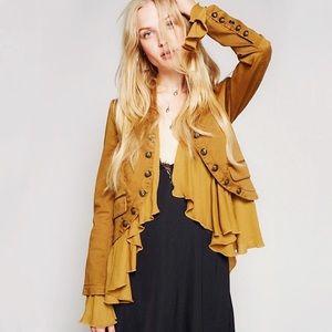 Jackets & Blazers - Honey Mustard Hippie Ruffle Military Jacket,S-XXL