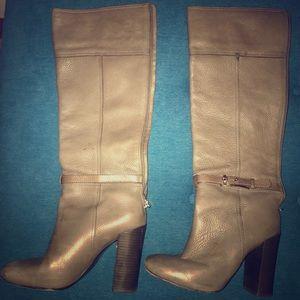 Elephant gray Tory Burch knee boots.