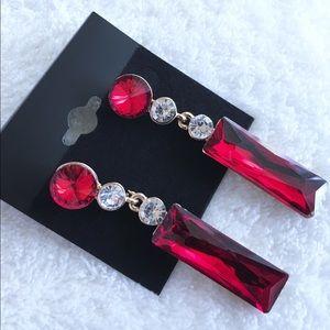 Jewelry - Modern Shape, Old School Shine w Red Gem Earrings