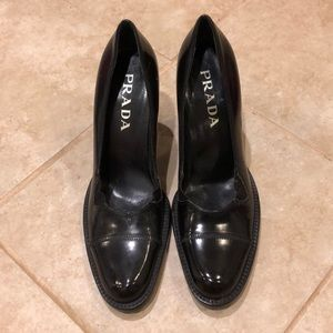 Like New Prada Black Chunky Heel Sz 37