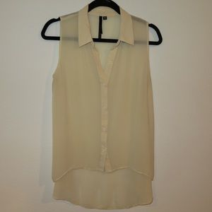 Sheer chiffon cream tank blouse - large