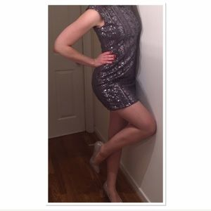 New Years Sexy Sequined silver bodycon short dress