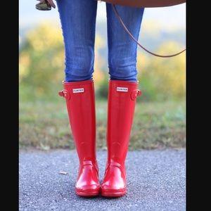 Hunter Rain Boots glossy tall red
