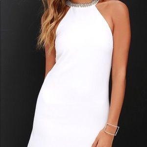 White beaded Lulus midi dress