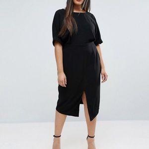 Black Midi ASOS Curve Wiggle Dress with Front Slit
