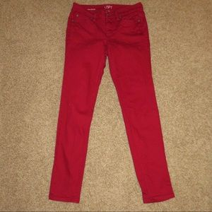 Red skinny jeans - size 2