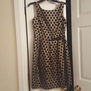Gold and Black Polka Dot Formal Dress