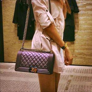 Handbags - Chanel Purple Le Boy Bag