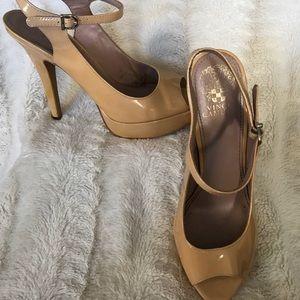 Vince Camuto Nude Patent Leather Peep-toe Platform
