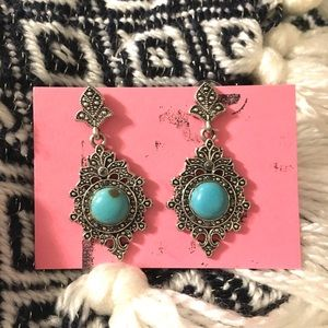 Jewelry - Victorian Style Earrings, Turquoise