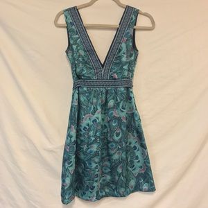 H&M Peacock Feather Printed Sleeveless Dress