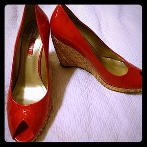 Holiday Red Patent Leather Wedge Heels