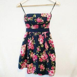 Forever 21 Pink Rose Blue Strapless Dress