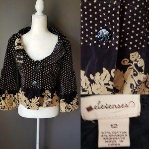ANTHROPOLOGIE Elevenses Black Velvet & Gold Jacket