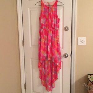 High-lo dress, multi-colored, open back