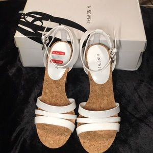 NWT. NINE WEST. White Patent Leather Open Toe Heel