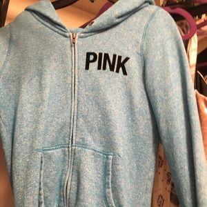 Blue PINK zip up sweatshirt