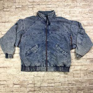 Vintage Nike Men's Acid Washed denim jacket