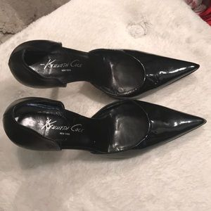 Black Patent Leather Kenneth Cole Kitten Heel Sz 5