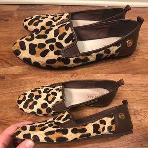 Michael Kors Leather Loafer Slip On Leopard 8.5