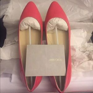 Brand New Jimmy Choo Neon Patent Flat Shoes US 7.5