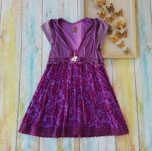 Free People Purple Floral Velvet Festival Dress 8