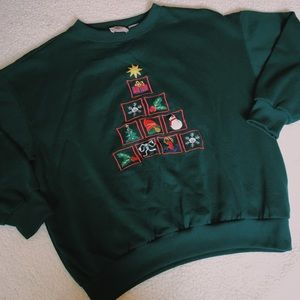 Embroidered Christmas Crewneck Sweatshirt