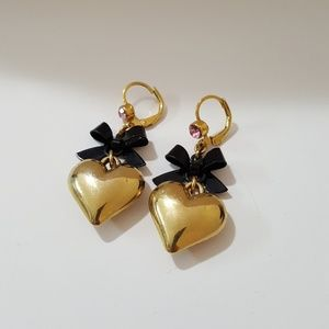 Betsey Johnson Dangling Heart Earrings
