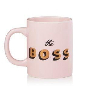 """NWT """"The Boss"""" pink and gold mug"""