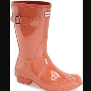 Hunter Rain Boots Short glossy sunset