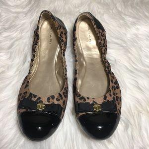 Tahari Gibson Leopard Print Black Patent Flats