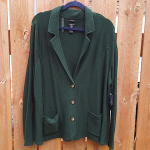 Tahari Forest Green Cardigan