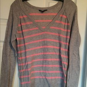 Tan and pink striped sweater