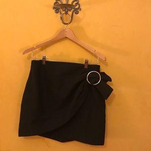 Black Mini Skirt with Silver Buckle by Zara