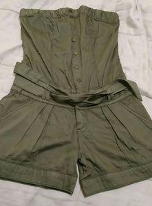 Strapless romper shorts