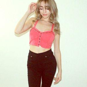 Tops - Pink Crop Top Rhinestones S