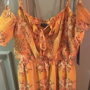As U Wish floral cold shoulder dress