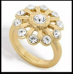 1 HR SALE*COACH Crystal Flower Ring Size 7&8 NWTs