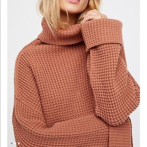 Free People Park City Chunky Knit Sweater in Brown