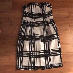 Strapless Express Holiday Dress Sz 2 Black Creme