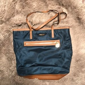 Michael Kors Navy Blue Canvas Tote Bag