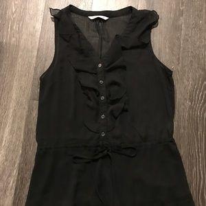 Old Navy Black Sheer Ruffled Dress
