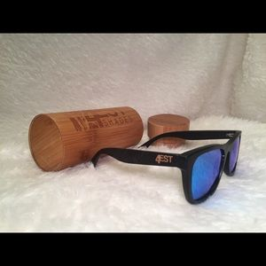 66f46f36b6 4EST Shades Accessories - 4EST Etched Black Bamboo Shades Unisex