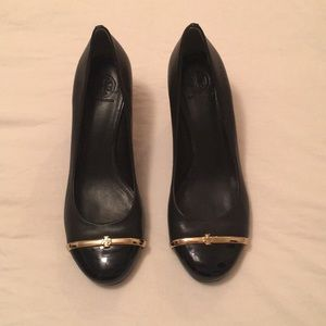 Tory Burch black wedges, patent toe size 9