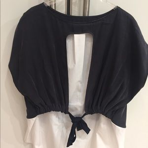 Zara woven top like new size XL - NAVY/WHITE