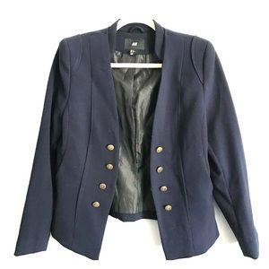 H&M military style navy blazer. SZ. 12