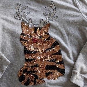 H&M Ugly Sweater with sequin cat Sz M