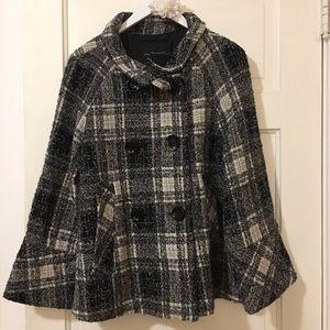 Zara Plaid Wool Blend Black And Grey Peacoat