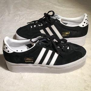 Adidas Platform Gazelles RARE Suede Black White