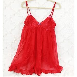 Red Sheer Mesh Babydoll Red Holiday Lingerie Dress